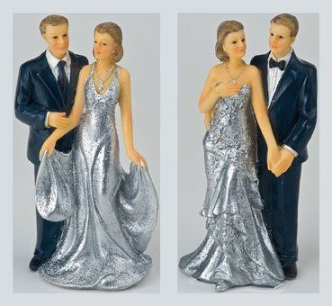 silver wedding bride groom cake topper two styles one supplied at random by Club Green - hanrattycraftsgifts.co.uk