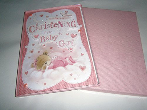 on your christening of your baby girl boxed card - hanrattycraftsgifts.co.uk