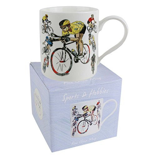 Fine China Cycling MUG/CUP by Julia Hook Sports & Hobbies Collection Tour De France Gift Boxed - hanrattycraftsgifts.co.uk