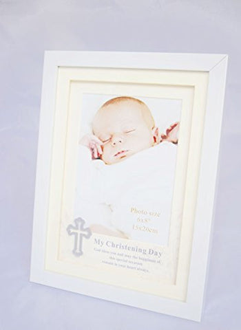 Christening Day Photo Frame Picture New Baby Baptism Cross Blessing Gift Present