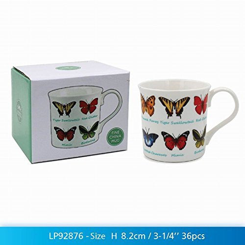 Butterfly Lovers Multi Breeds Fine China Mug in a Gift Box - hanrattycraftsgifts.co.uk