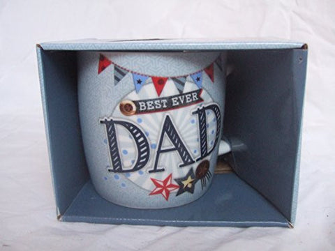 """Best Ever Dad"" Father Themed Blue Stars & Banners Sentimental Mug with Presentation Box - hanrattycraftsgifts.co.uk"