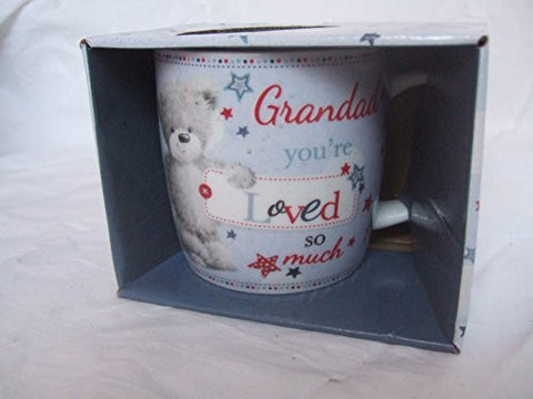 """Grandad, You're Loved so Much"" Blue Teddy Bear Sentimental Mug with Presentation Box"