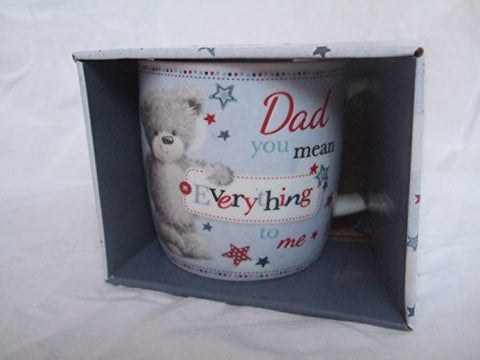 """Dad, You Mean Everything To Me"" Blue Teddy Bear Sentimental Mug with Presentation Box - hanrattycraftsgifts.co.uk"