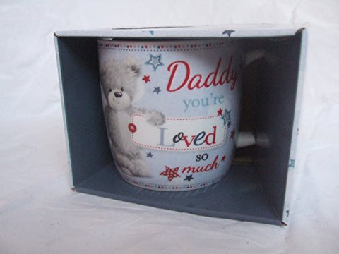 """Daddy, You're Loved so Much"" Blue Teddy Bear Sentimental Mug with Presentation Box"