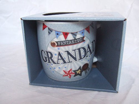"""Fantastic Grandad"" Grandfather Themed Blue Stars & Banners Sentimental Mug with Presentation Box"