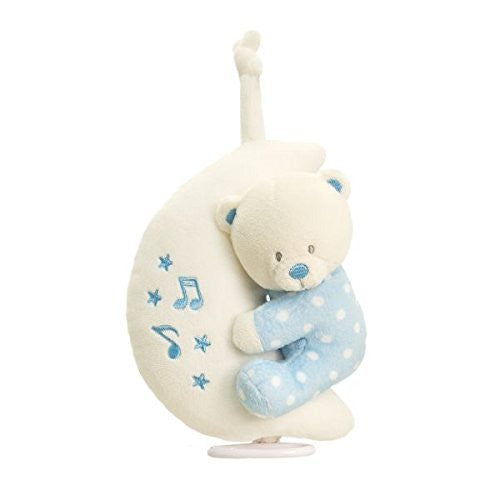 Teddy Bear On Moon Musical Plush Soft Toy Mobile For New Baby Boy Blue - hanrattycraftsgifts.co.uk