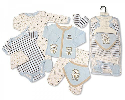 Baby Boys 7 Pieces Mesh Set - Best Friends (0 - 3 Months) - hanrattycraftsgifts.co.uk