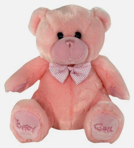 Keel Toys Sitting Baby Girl Bear Soft Toy - 28cm - hanrattycraftsgifts.co.uk