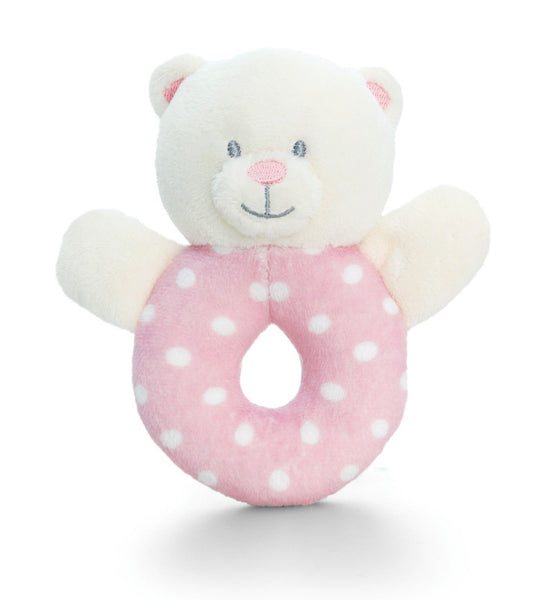 PINK & WHITE SPOTTY Baby's First Rattle Teddy Bear Baby Girl Gift by Keel Toys