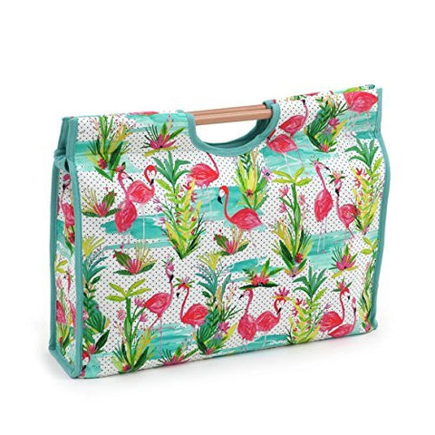 Hobby Gift 'Flamingos' Craft bag con manico in legno 11 x 42 x 30 cm (D/W/h) - hanrattycraftsgifts.co.uk