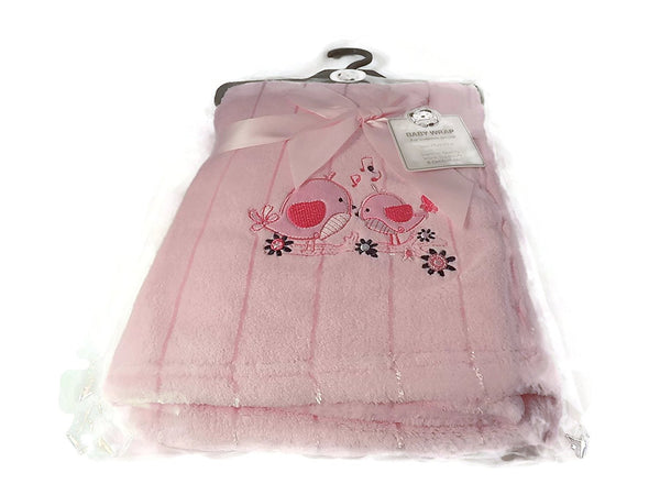 Baby Wrap/Blanket - Two Little Birds Color Pink 899 - hanrattycraftsgifts.co.uk