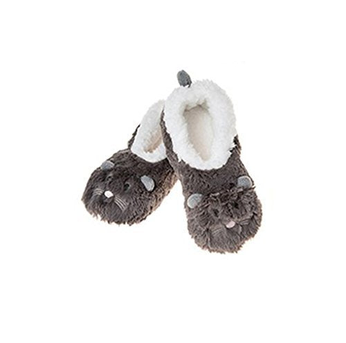 New Style Ladies Animal Snoozies Super Soft Slippers (UK MEDIUM 5-6, DK GREY MOUSE)