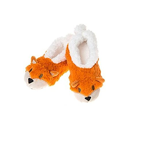 New Style Ladies Animal Snoozies Super Soft Slippers   medium  orange - hanrattycraftsgifts.co.uk
