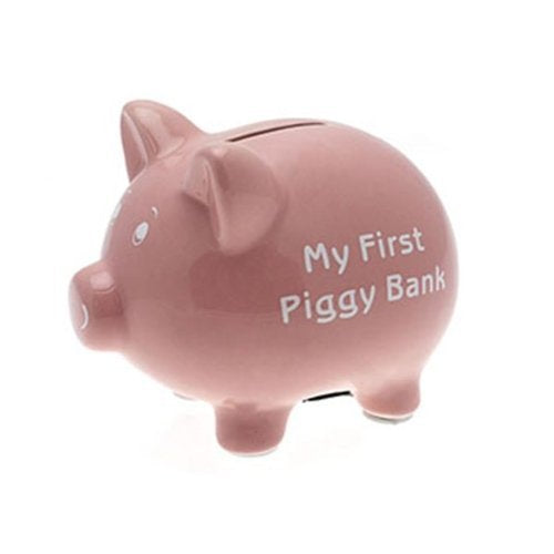 My First Piggy Bank 15cm - Pink - hanrattycraftsgifts.co.uk