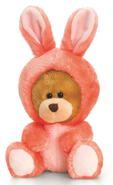 Keel Toys 14cm Pipp The Bear Bunny Rabbit Pink Onessie Cuddly Teddy Soft Toy