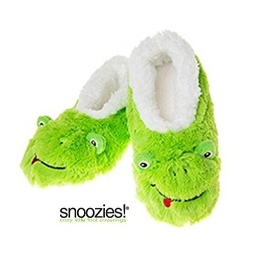 Childrens Animal Soft Sherpa Fleece Fluffy Slippers (12-13 UK SMALL, LIME FROG) - hanrattycraftsgifts.co.uk