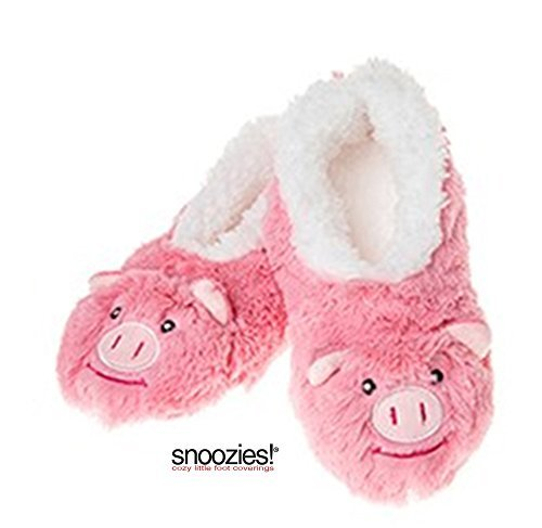 Childrens Animal  Sherpa Fleece Fluffy Slippers (1-2 UK MEDIUM, PINK PIG)