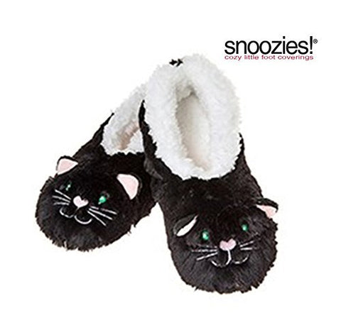Childrens Animal Snoozies Soft Sherpa Fleece Fluffy Slippers (12-13 UK SMALL, BLACK CAT) - hanrattycraftsgifts.co.uk