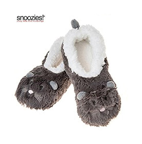 Childrens Animal  Soft Sherpa Fleece Fluffy Slippers ( UK MEDIUM, GREY MOUSE)