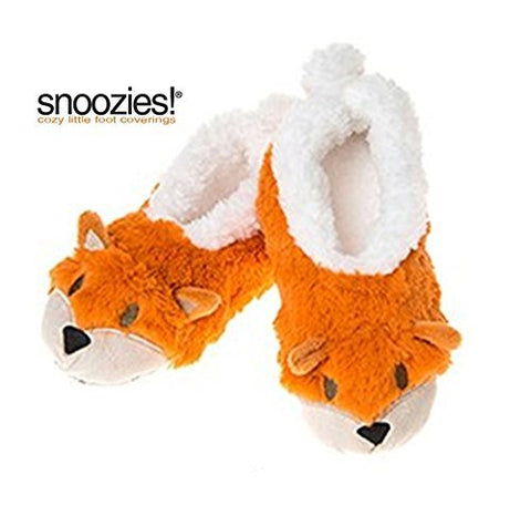 Childrens Animal Snoozies Soft Sherpa Fleece Fluffy Slippers (1-2 UK MEDIUM, ORANGE FOX) - hanrattycraftsgifts.co.uk