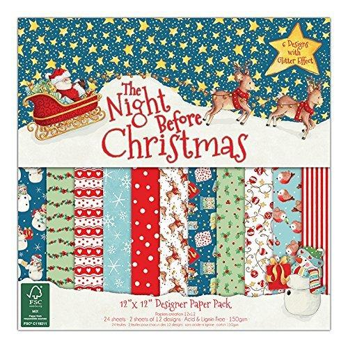 "Helz Cuppleditch 12 x 12-Inch FSC ""The Night Before Christmas"" Paper Pack - hanrattycraftsgifts.co.uk"