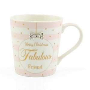 Mad Dots Merry Christmas Fabulous Friend Mug China Diamante Bow - hanrattycraftsgifts.co.uk