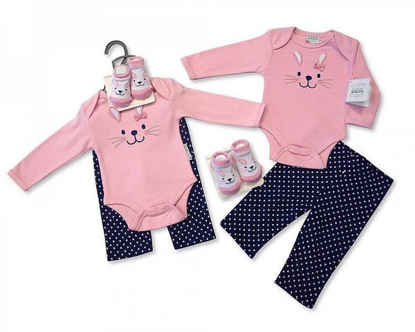 3 Piece Little Bunny Layette Clothing Outfit Gift Set by Nursery Time