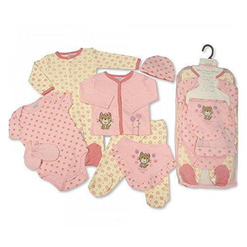 Baby Gift Set for Boy or Girl - 7 Piece Layette in a Mesh Bag Purrfect Me, 0-3 Months - hanrattycraftsgifts.co.uk