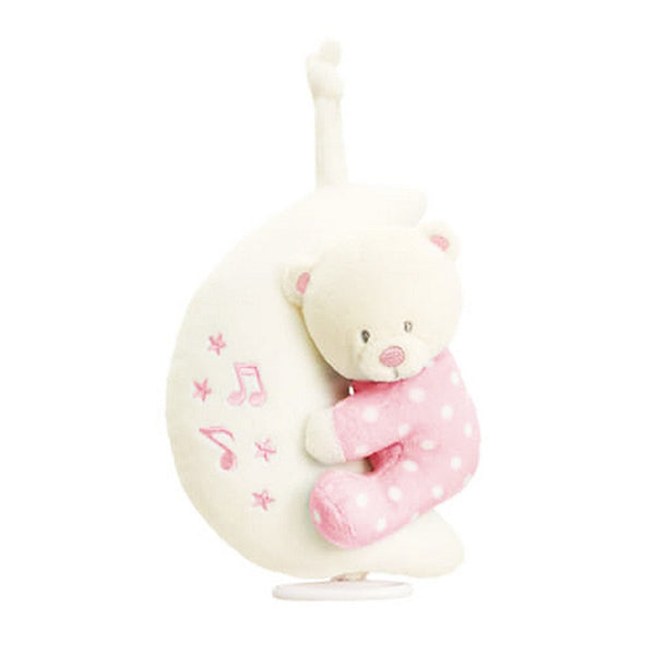 Teddy Bear On Moon Musical Plush Soft Toy Mobile For New Baby Girl Pink - hanrattycraftsgifts.co.uk