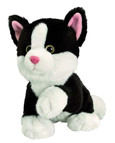 Keel Toys 25cm Posing Sparkle Eye Cat Kitten (Black/White (Sitting with Paw)) - hanrattycraftsgifts.co.uk