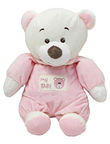 "9"" Soft Teddy Bear With Ring Bell Baby Ring Rattle Plush Toy (Pink) - hanrattycraftsgifts.co.uk"