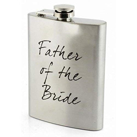 """Father of the Groom"" Silver Aluminium Keepsake Hip Flask - Wedding Favour"