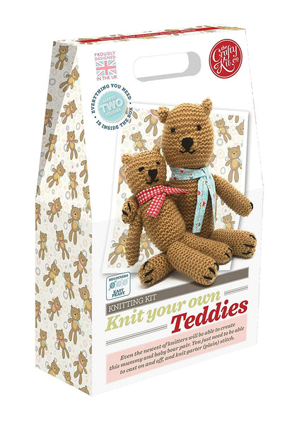 The Crafty Kit Company Knitting Kit Knit your own Teddies - hanrattycraftsgifts.co.uk