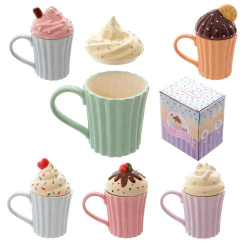 Puckator Cutesy Cupcake Ceramic Mug with Lid - hanrattycraftsgifts.co.uk
