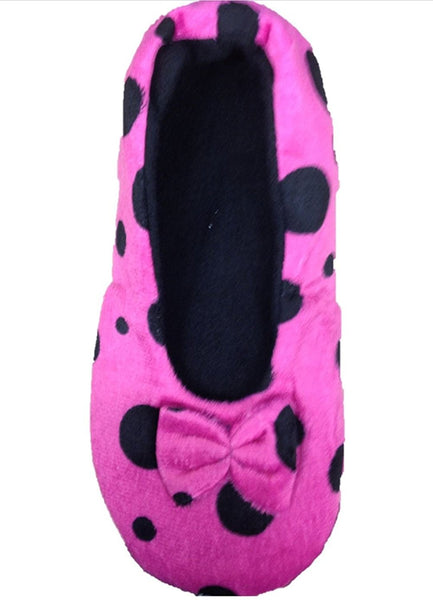 Ladies Tootsies Ballerina Slippers SK818 Pink Spot - hanrattycraftsgifts.co.uk