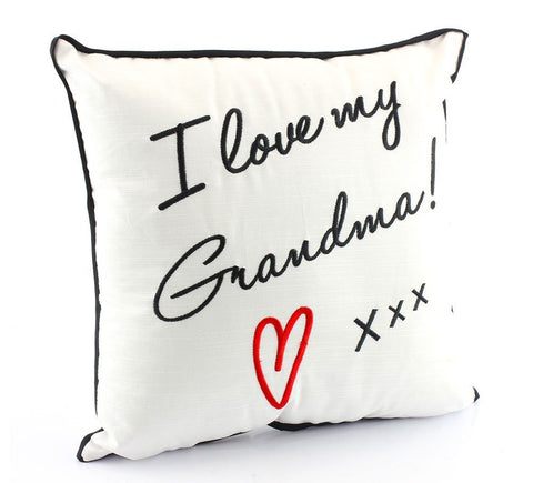 """I Love My Grandma"" Black and White Novelty Embroidered Cushion"