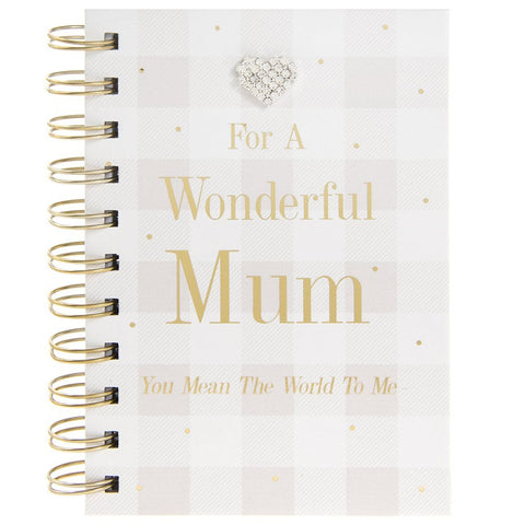 For a Wonderful Mum - Pink and White Checked Notebook with Diamante Heart - hanrattycraftsgifts.co.uk