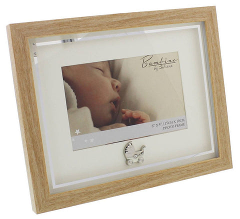 "Bambino Light Wooden effect Picture Frame with Silver Pram Icon 6"" x 4"""