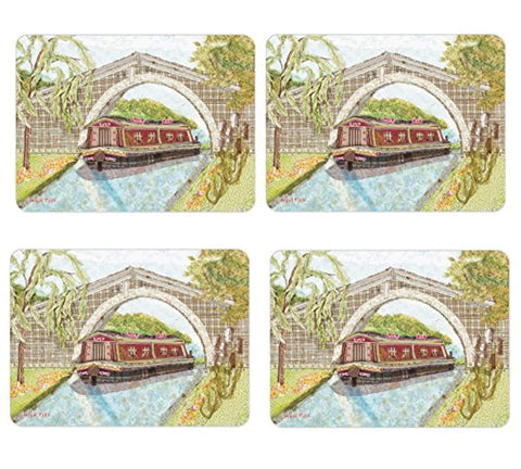 Abigail Mill Pack of 4 Canal Barge Placemats Set of Four Tablemats - hanrattycraftsgifts.co.uk