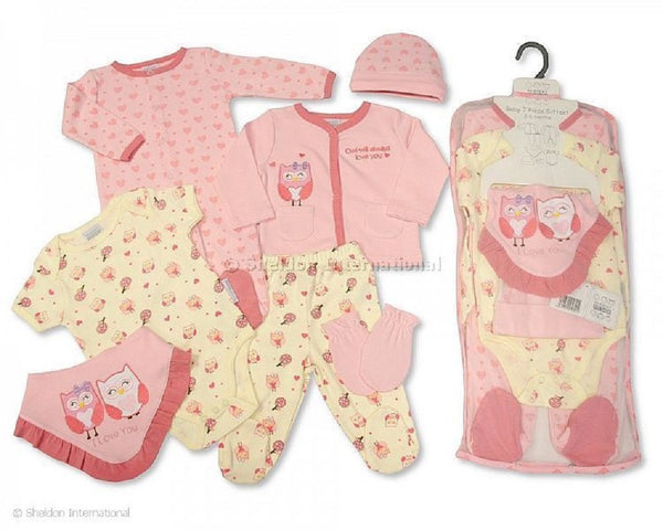 Nursery Time NT0692 Owl design 7 piece Pink/Cream gift set. Available for Newborn to 6 months in 3 sizes. (0-3 months Pink)