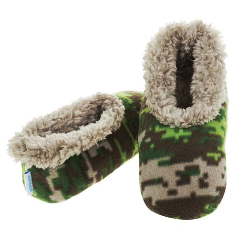 Boys Khaki Camouflage Fun Kids Snoozies Slippers in S/M/L - hanrattycraftsgifts.co.uk