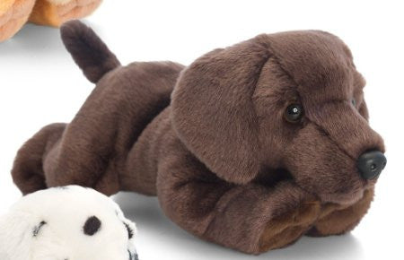 Keel Toys 30cm Laying Dogs Chocolate Labrador - hanrattycraftsgifts.co.uk