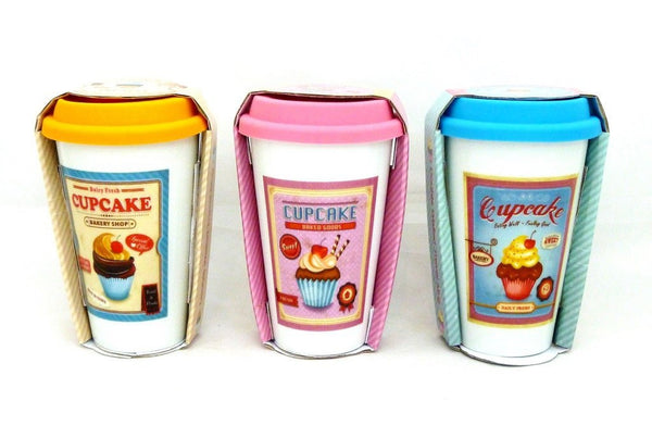 Retro Ceramic Cupcake Travel Mug in 3 Colours Blue Pink and Orange - hanrattycraftsgifts.co.uk