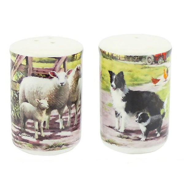 Leonardo Collie and Sheep China Salt and Pepper Cruet Set Macneil Studio LP92422 - hanrattycraftsgifts.co.uk