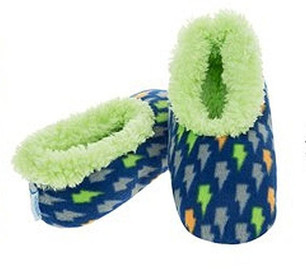 Boys Lightening Bolts Fun Kids Snoozies Slippers in S/M/L - hanrattycraftsgifts.co.uk