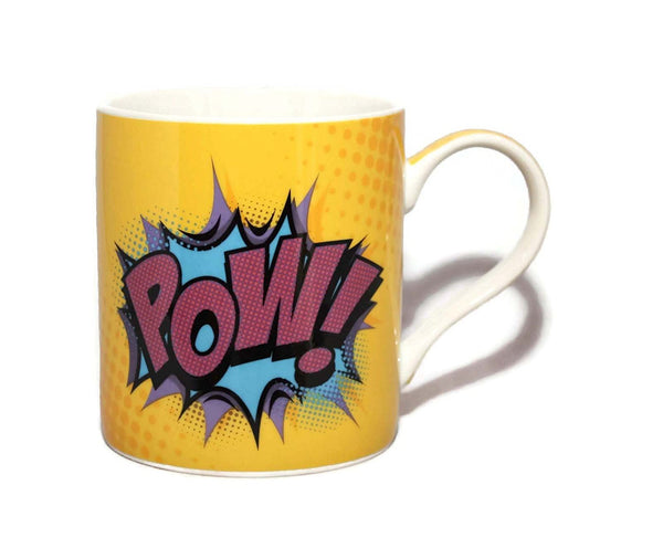 Superhero Comic Style Pow! Fine China Mug - hanrattycraftsgifts.co.uk