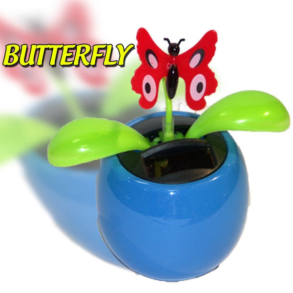 SOLAR POWERED FLIP FLAP TOYS DANCING ORNAMENT FLOWERS BUTTERFLY