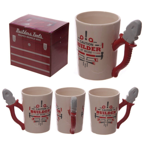 Funky Builders Pliers Shaped Handle Ceramic Mug Christmas Gift Idea - hanrattycraftsgifts.co.uk