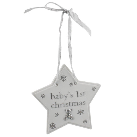 Bambino Baby's 1st Christmas Star Plaque Decoration with cute teddy bear icon